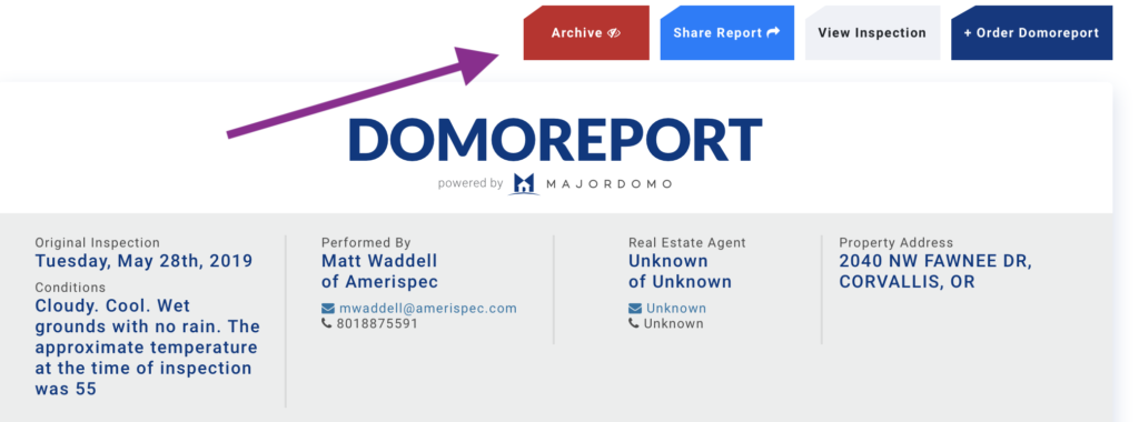 Archive Domoreport on the top of the Domoreport page