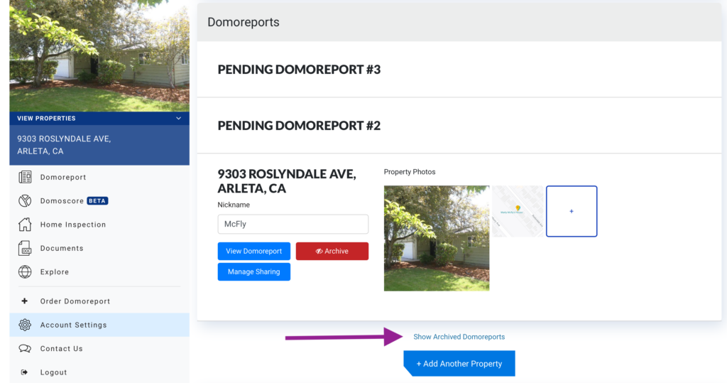 Show archived Domoreports on setting page