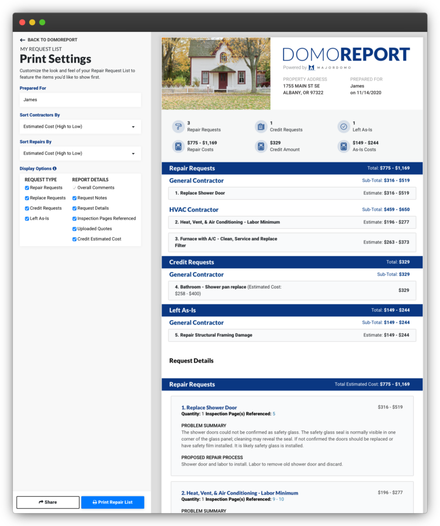 Negotiate the Best Deal with the Domoreport's Request List